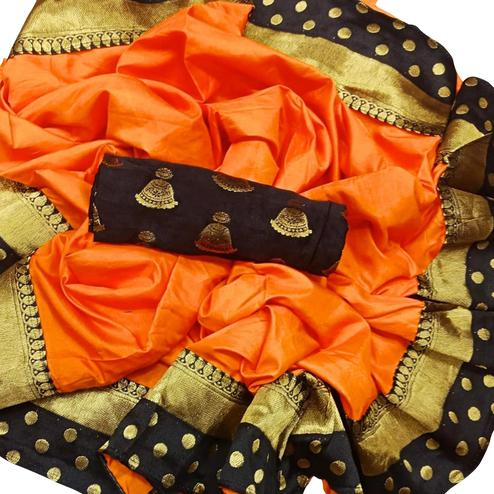 Demanding Orange Colored Festive Wear Paper Silk Saree