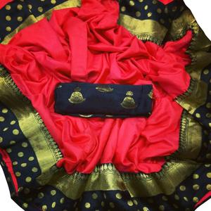 Exceptional Red Colored Festive Wear Paper Silk Saree