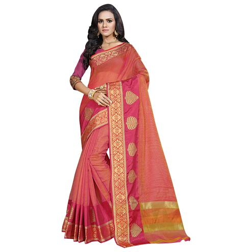 Impressive Pink Colored Festive Wear Cotton Saree