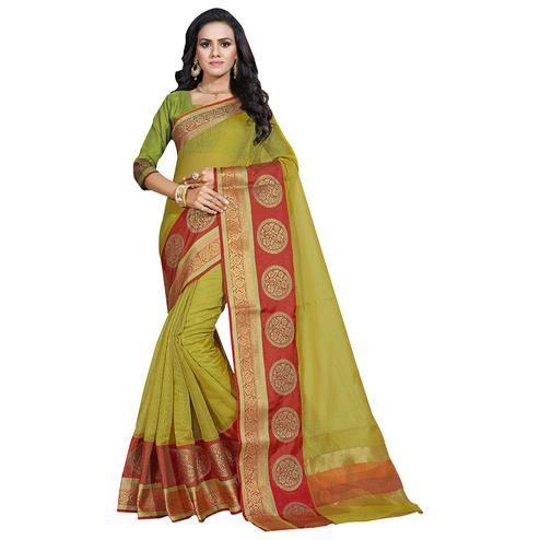 Staring Green Colored Festive Wear Cotton Saree