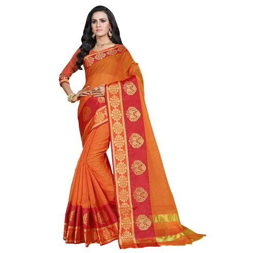 Groovy Orange Colored Festive Wear Cotton Saree