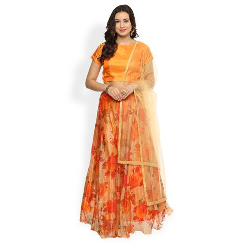 Orange - Cream Floral Printed Lehenga Choli