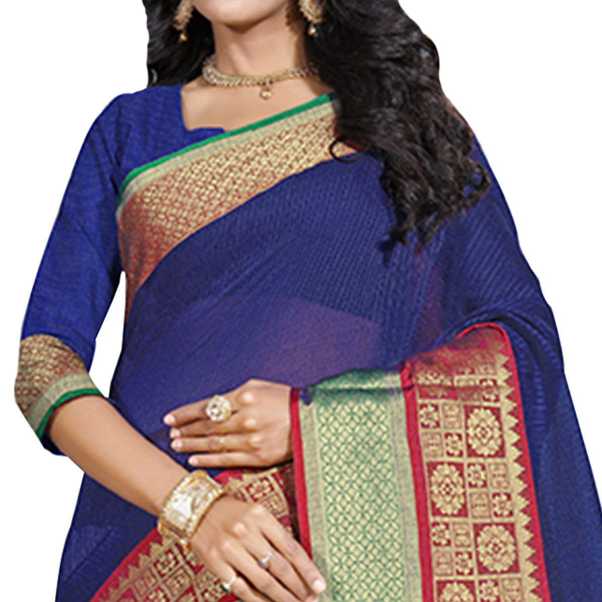 Blooming Blue Colored Festive Wear Cotton Saree