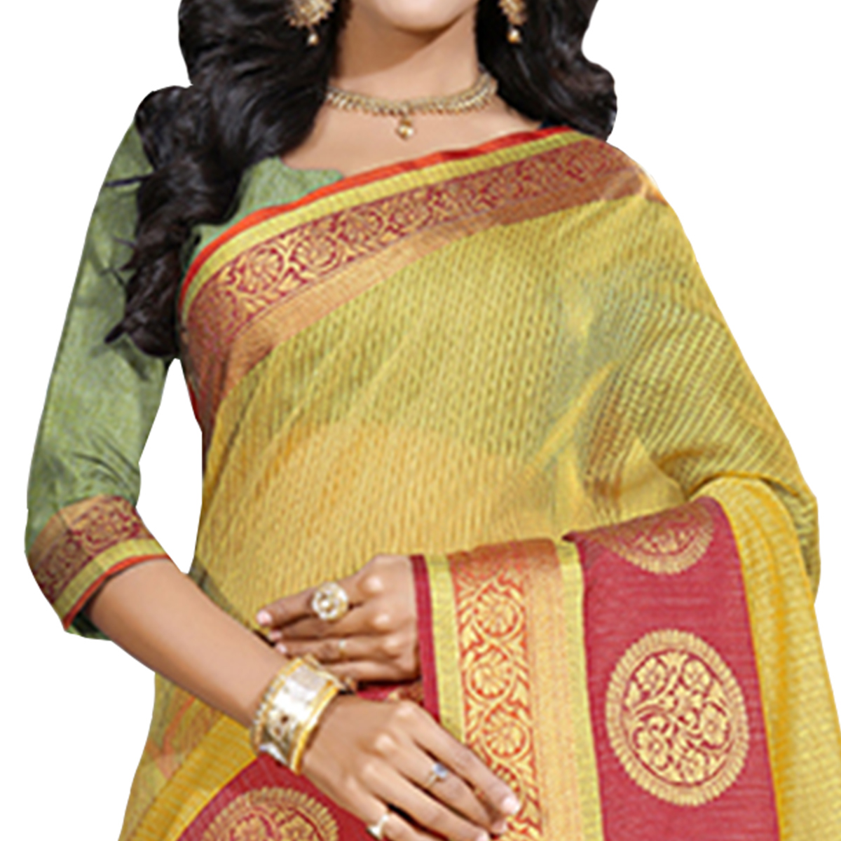Trendy Yellow Colored Festive Wear Cotton Saree
