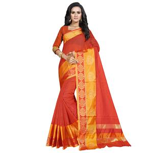 Exceptional Saffron Colored Festive Wear Cotton Saree