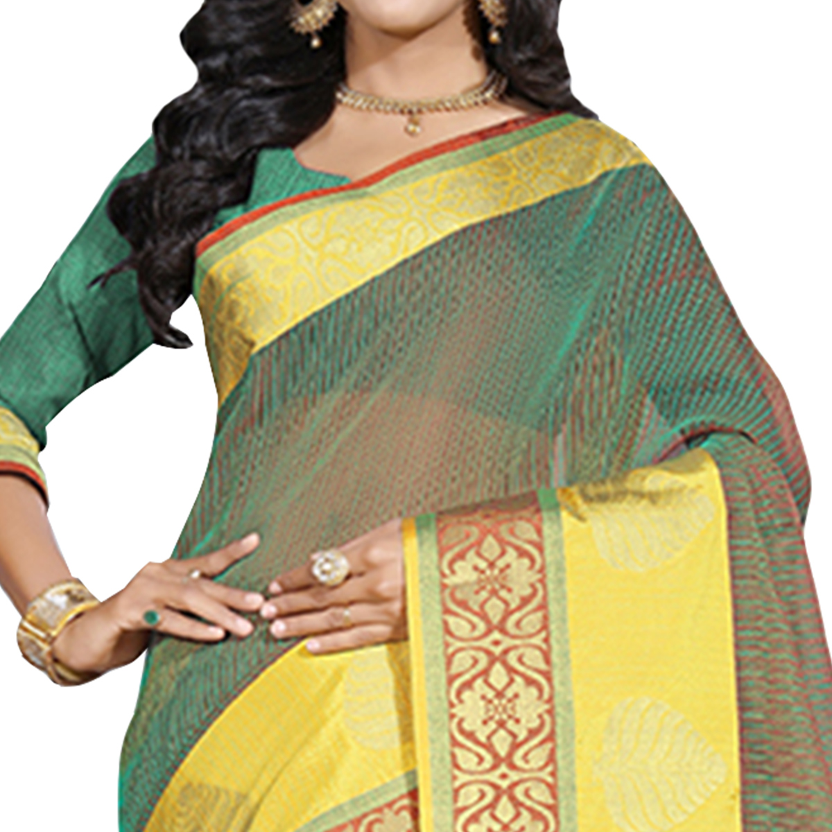 Gleaming Green Colored Festive Wear Cotton Saree