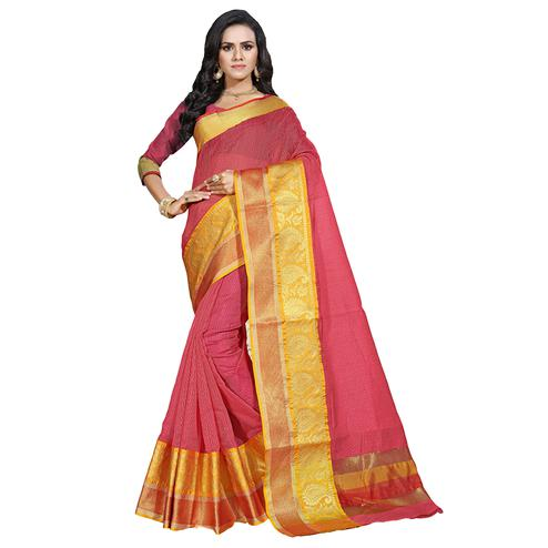 Pretty Pink Colored Festive Wear Cotton Saree
