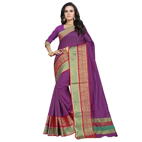 Attractive Purple Colored Festive Wear Cotton Saree