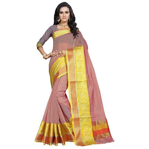 Pleasant Light Pink Colored Festive Wear Cotton Saree