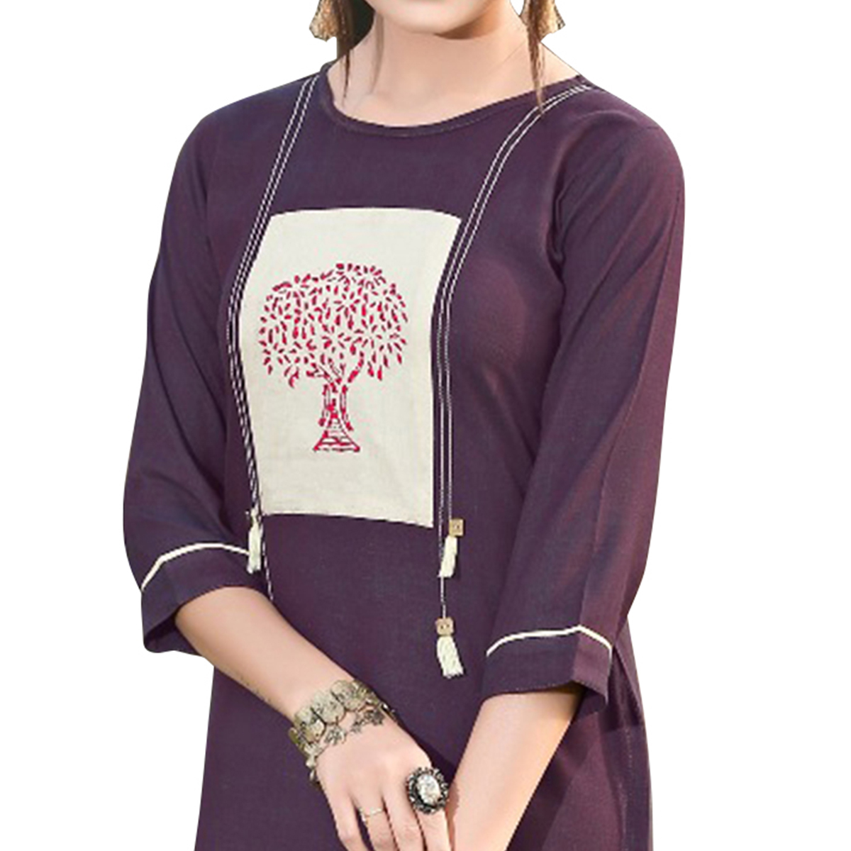 Impressive Dark Purple Colored Casual Digital Printed Rayon Kurti