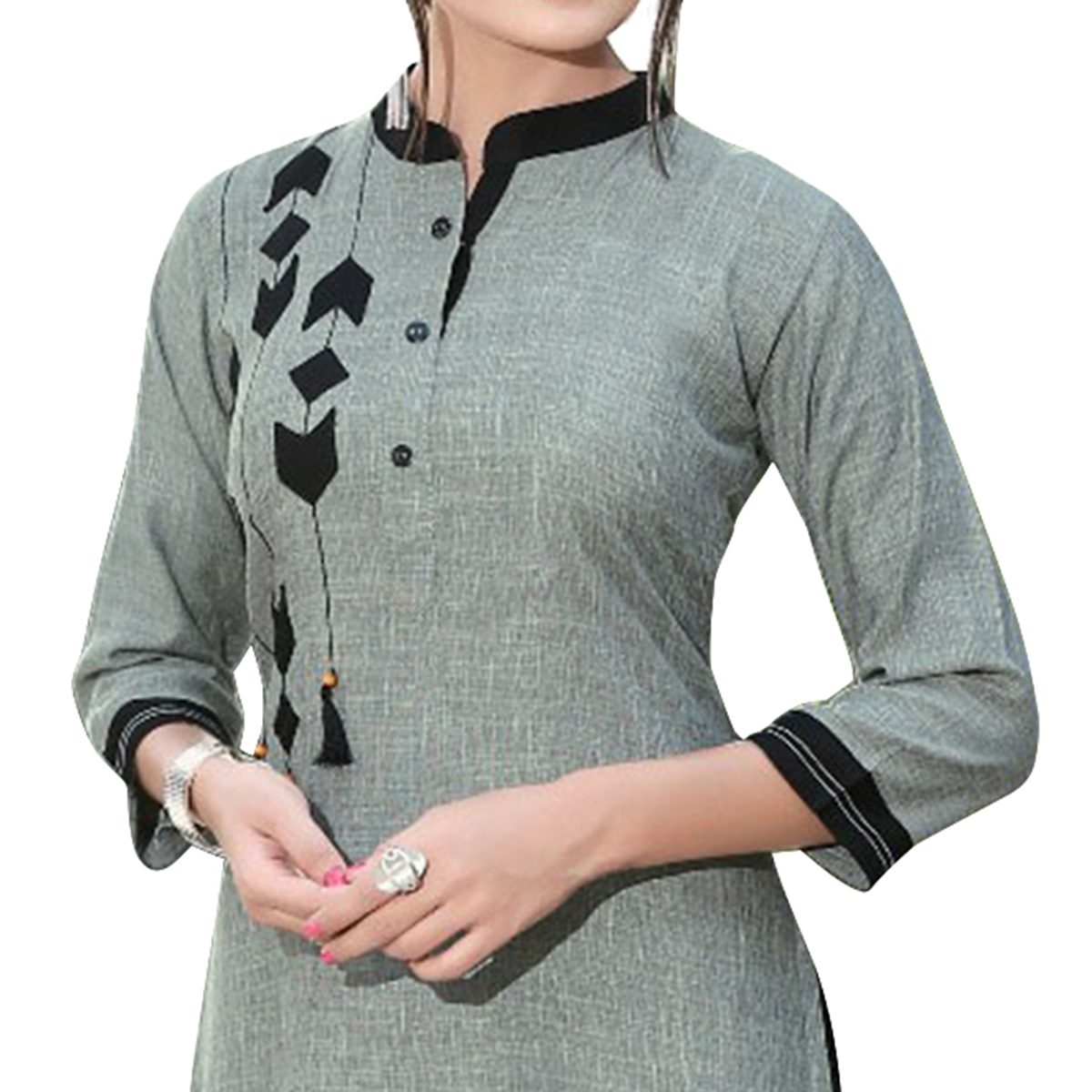 Demanding Gray Colored Casual Digital Printed Rayon Kurti