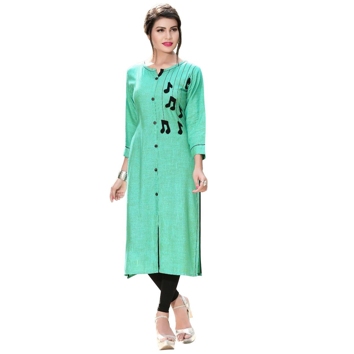 Stylish Turquoise Green Colored Casual Digital Printed Rayon Kurti