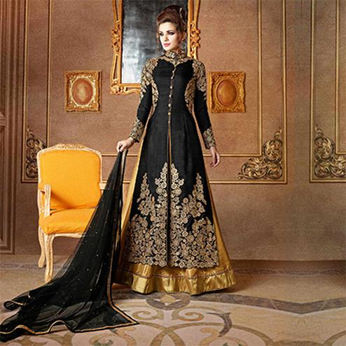 Black Wedding Wear Mulberry Silk Lehenga Kameez