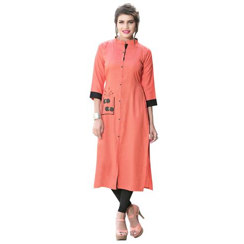 Lovely Peach Colored Casual Digital Printed Rayon Kurti