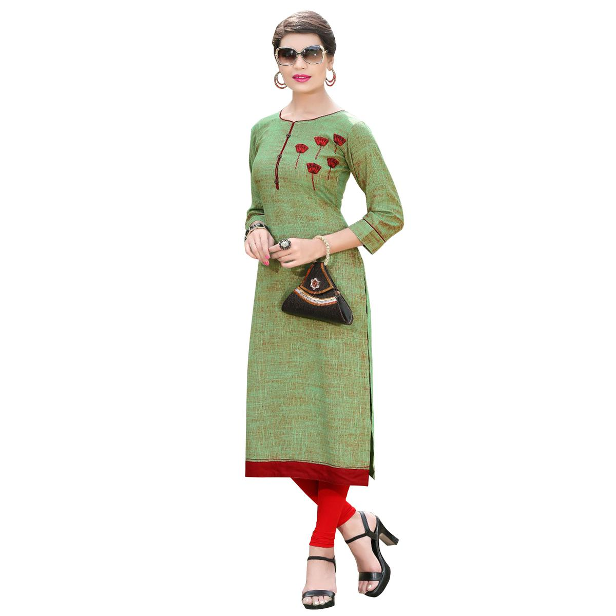 Classy Green Colored Casual Digital Printed Rayon Kurti