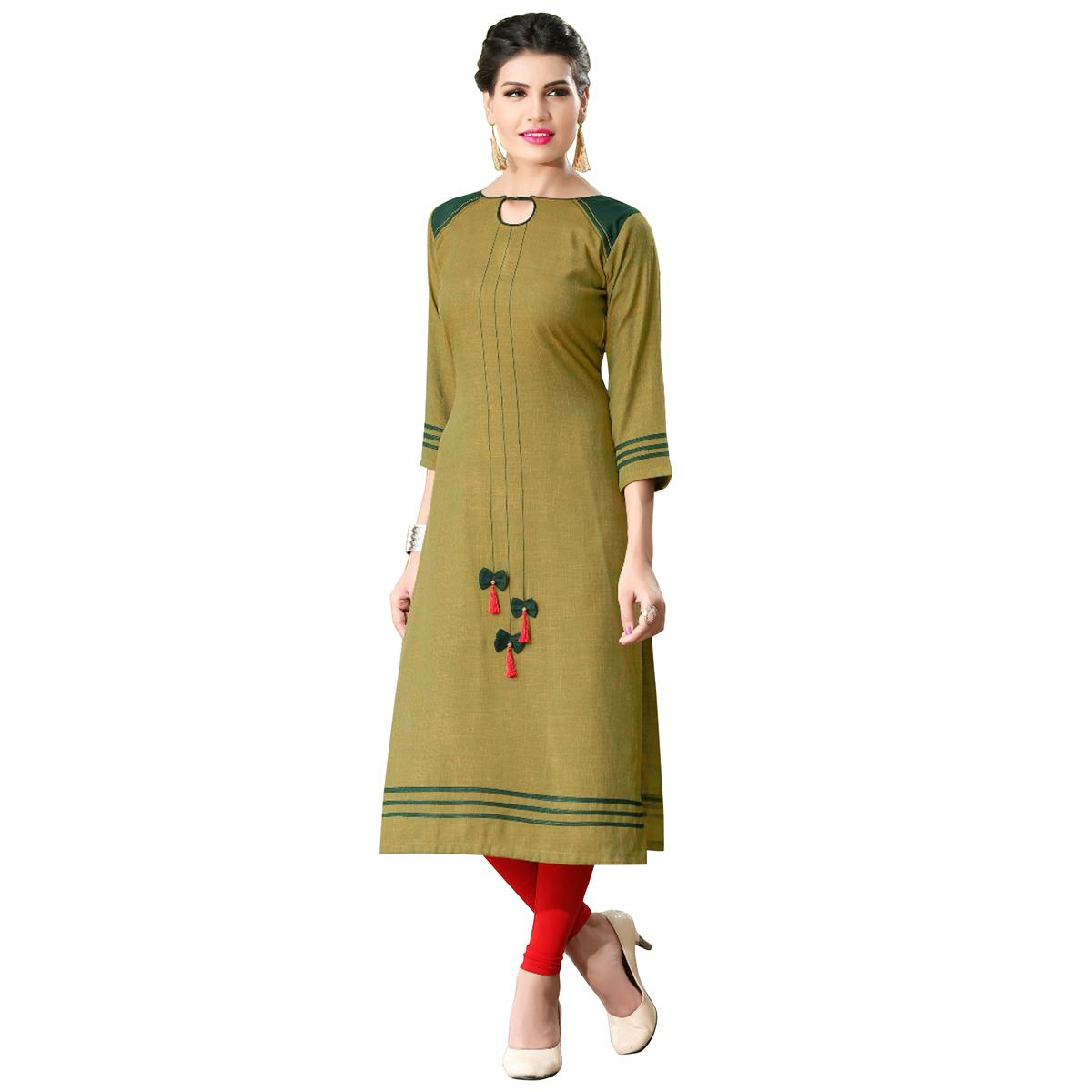 Innovative Olive Green Colored Casual Digital Printed Rayon Kurti
