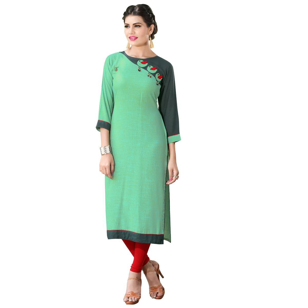 Attractive Aqua Green Colored Casual Digital Printed Rayon Kurti