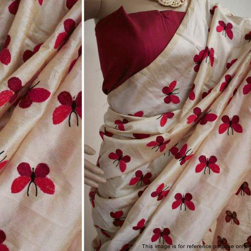 Arresting Cream Colored Partywear Embroidered Art Silk Saree