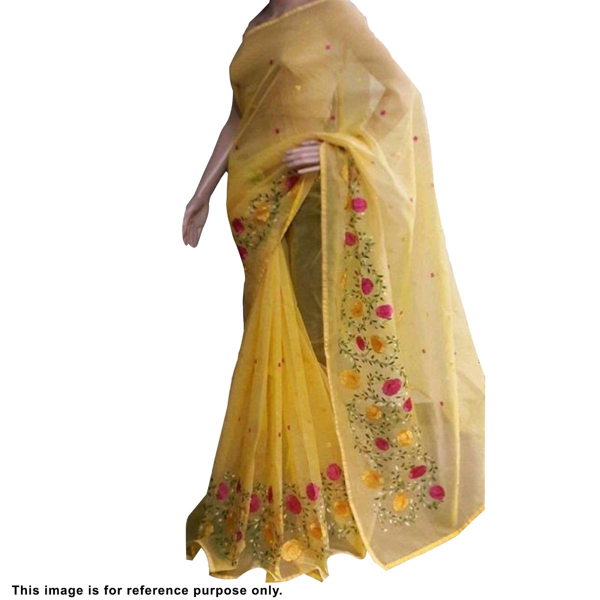Hypnotic Yellow Colored Partywear Embroidered Organza Silk Saree