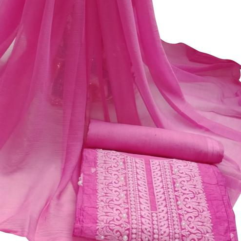 Charming Pink Colored Embroidered Modal Cotton Dress Material