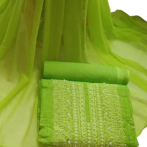 Refreshing Green Colored Embroidered Modal Cotton Dress Material