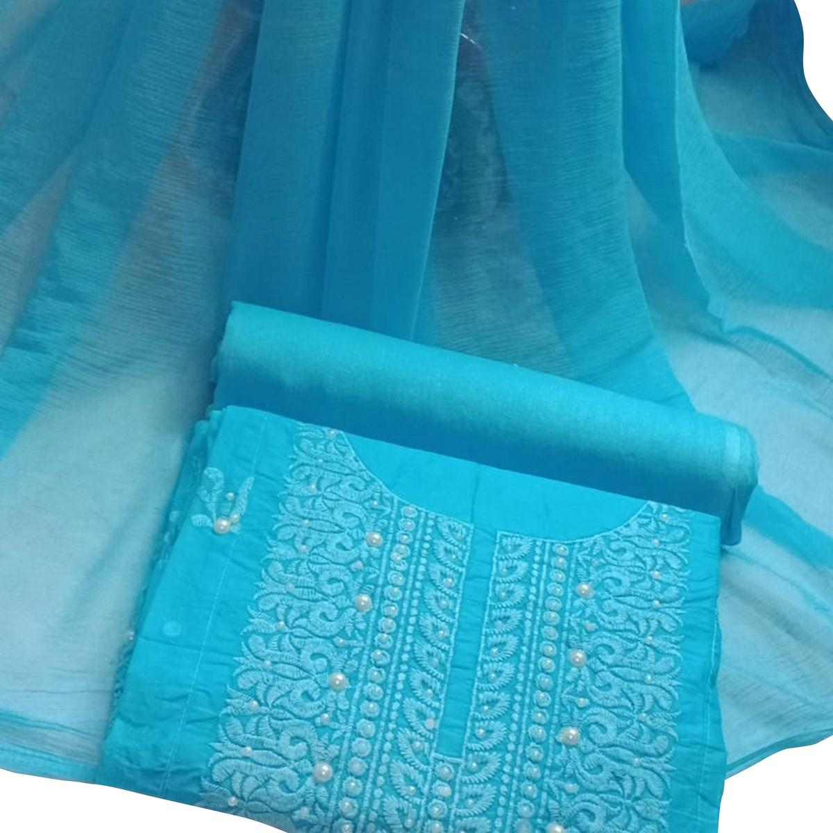 303ddd4f46c Buy Stylish Sky Blue Colored Embroidered Cotton Dress Material for womens  online India