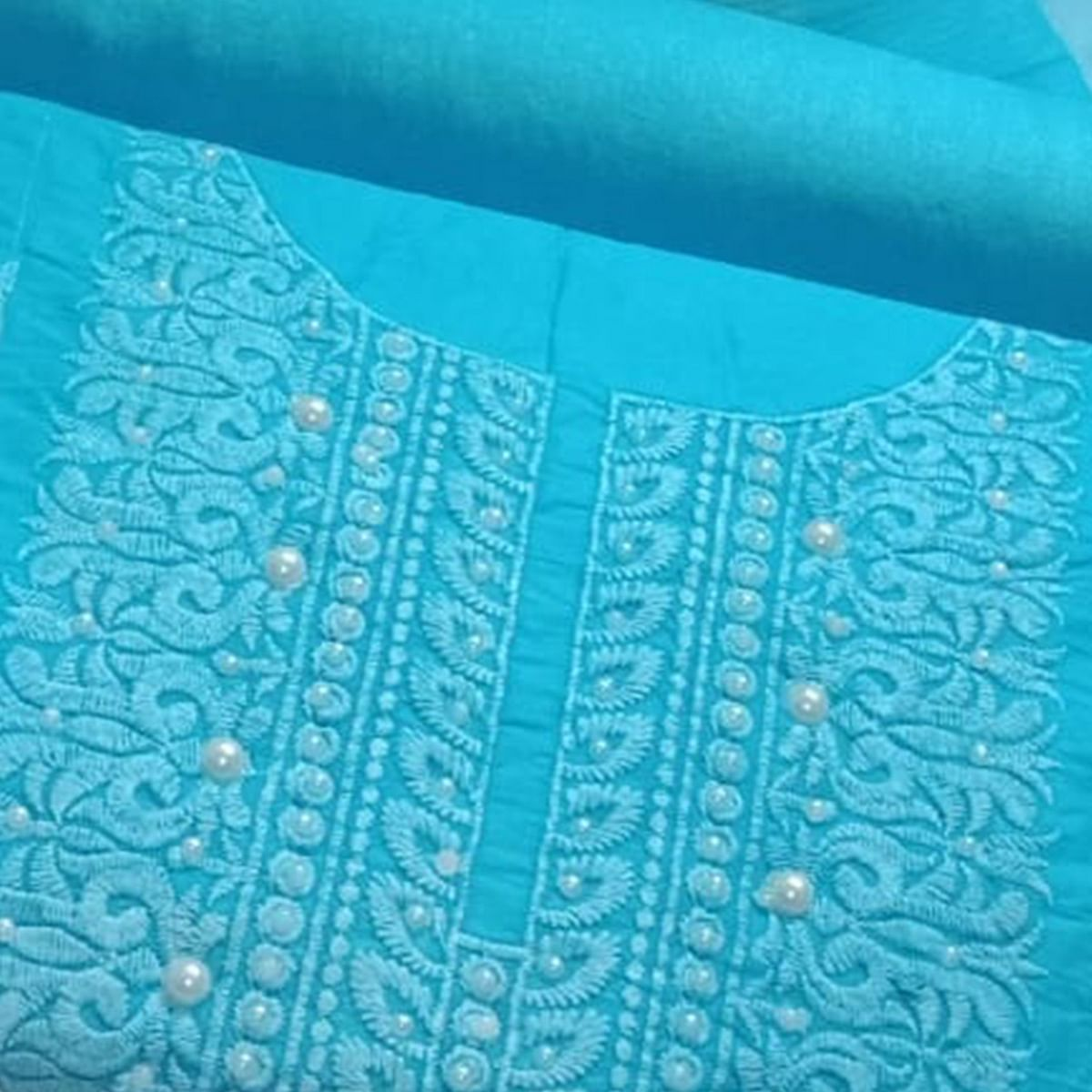 Stylish Sky Blue Colored Embroidered Modal Cotton Dress Material