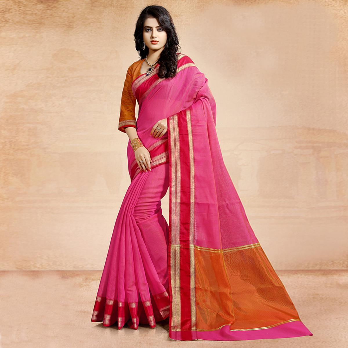 Charming Pink Colored Festive Wear Cotton Saree