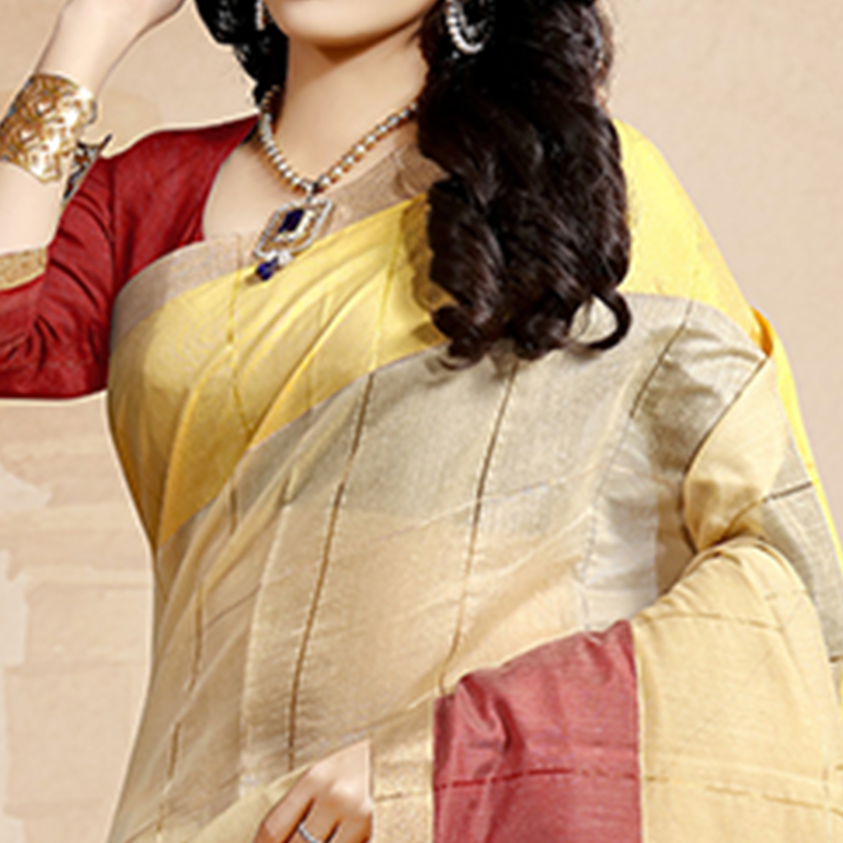 Pleasant Beige Colored Festive Wear Cotton Saree