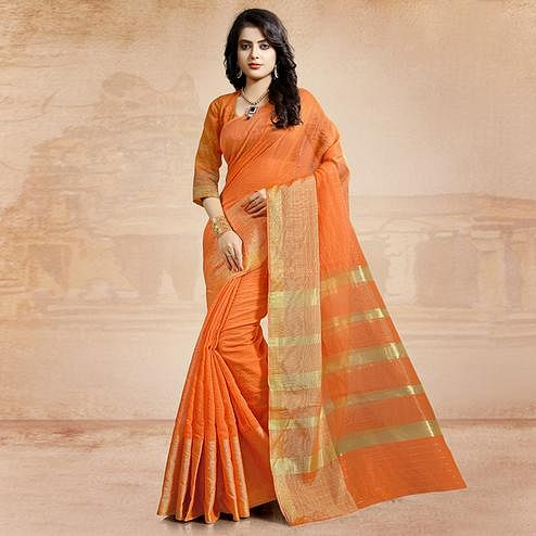 Trendy Orange Colored Festive Wear Cotton Saree