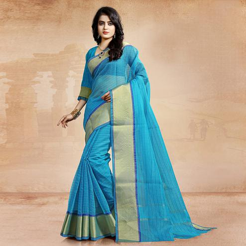 Glowing Blue Colored Festive Wear Cotton Saree