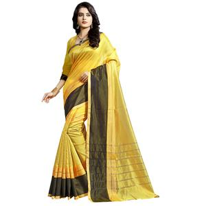Desiring Yellow Colored Festive Wear Cotton Saree