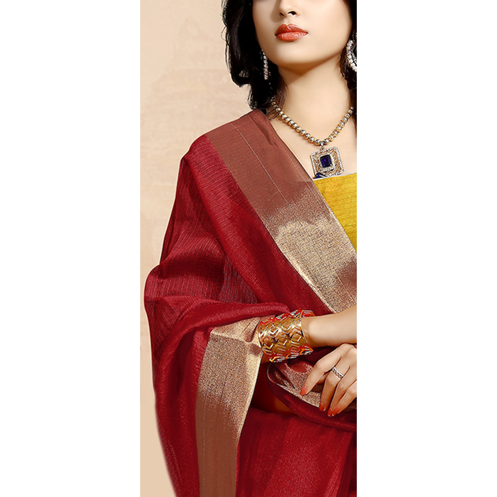 Blooming Maroon Colored Festive Wear Cotton Saree