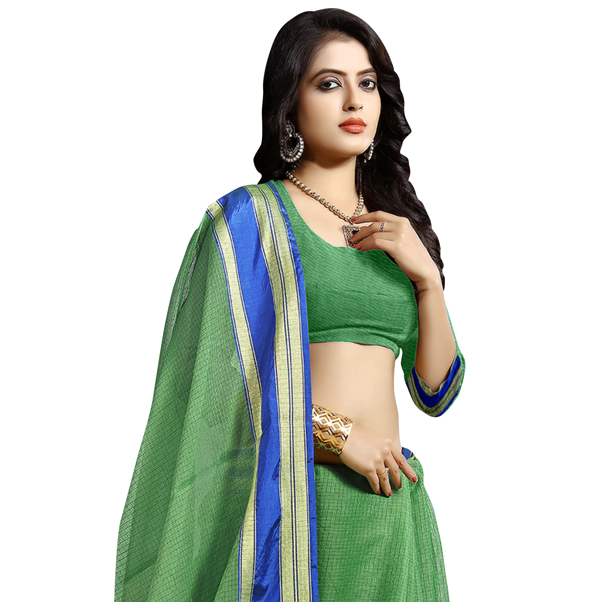 Refreshing Green Colored Festive Wear Cotton Saree