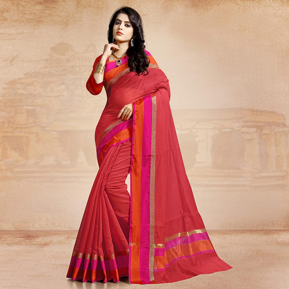Gleaming Red Colored Festive Wear Cotton Saree