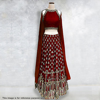 Maroon Embroidered Work Silk Lehenga Choli