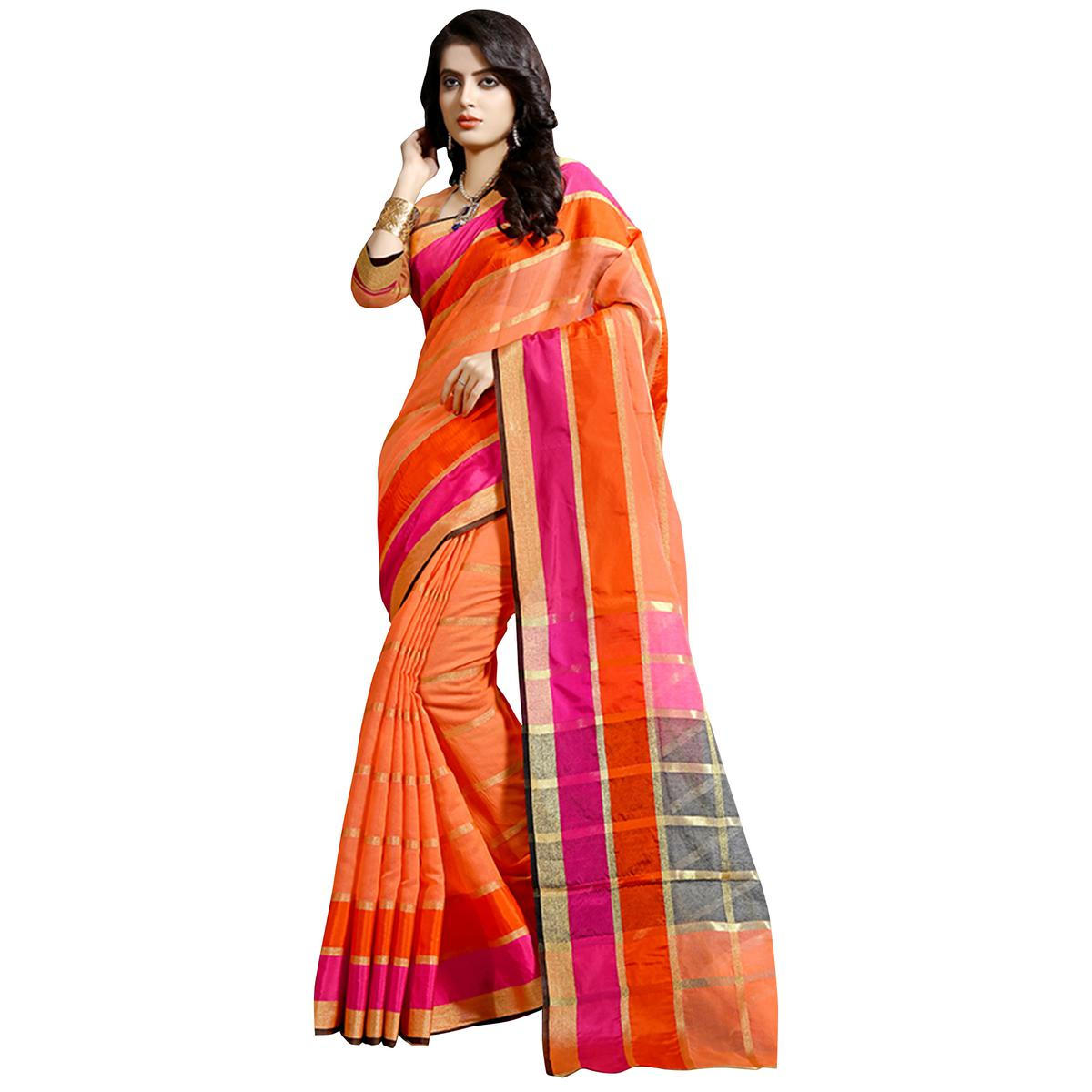 Classy Orange Colored Festive Wear Cotton Saree