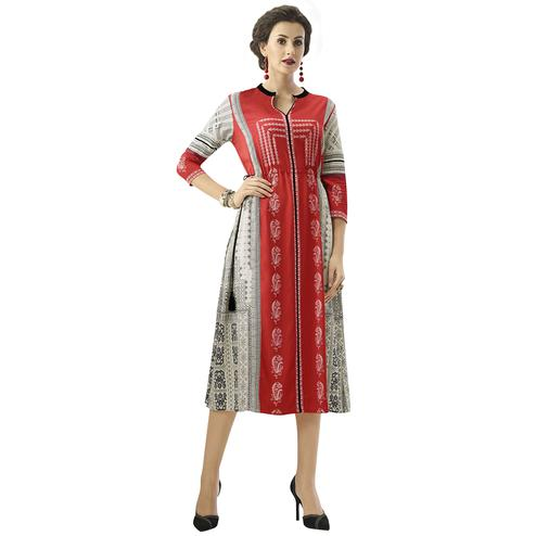 Stylish Gray-Red Colored Casual Printed Rayon Kurti