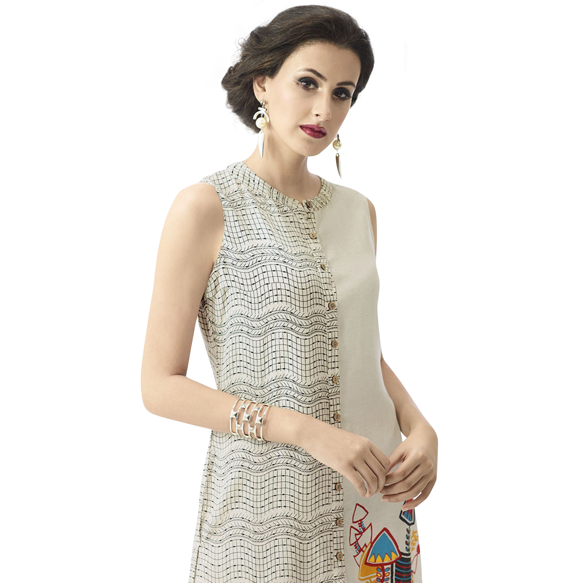 Classy Off-White Colored Casual Printed Cotton Kurti