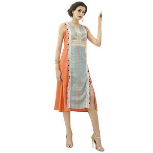 Lovely Orange Colored Casual Printed Rayon Kurti