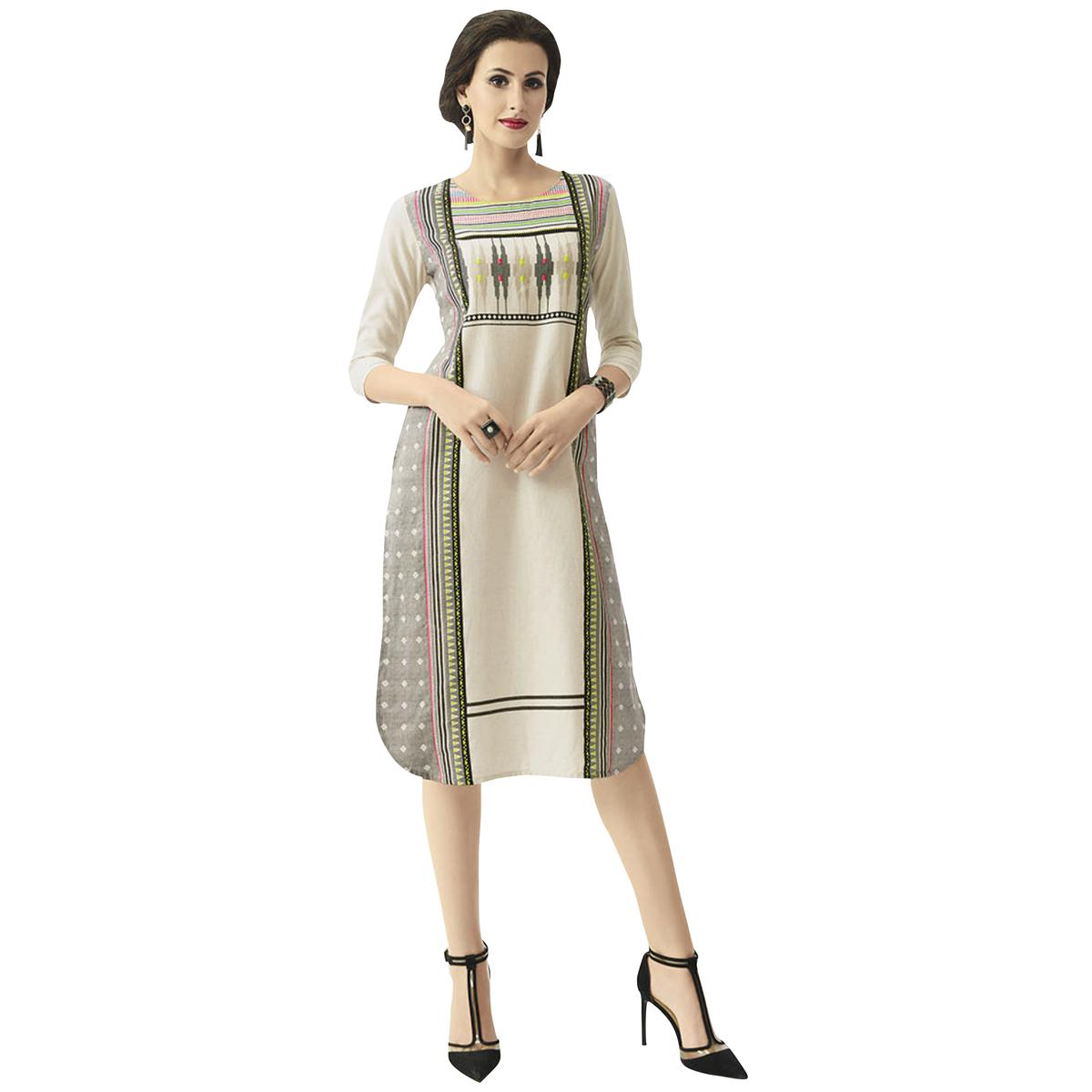 Unique Off-White Gray Colored Casual Printed Cotton Kurti