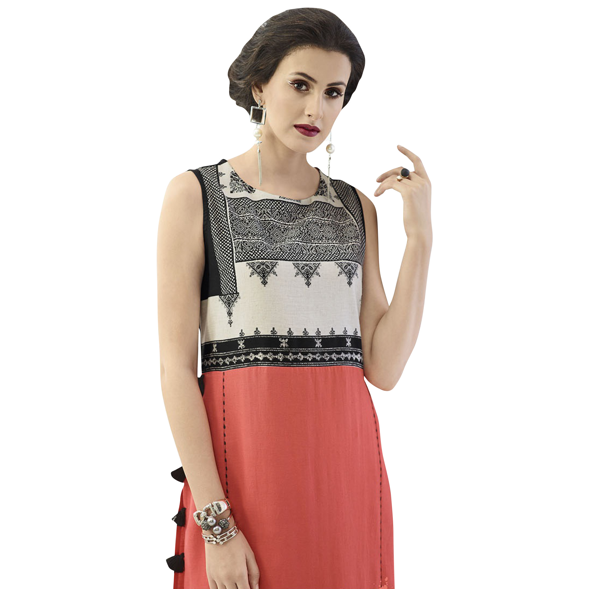 Pretty Pink Colored Casual Printed Rayon Kurti