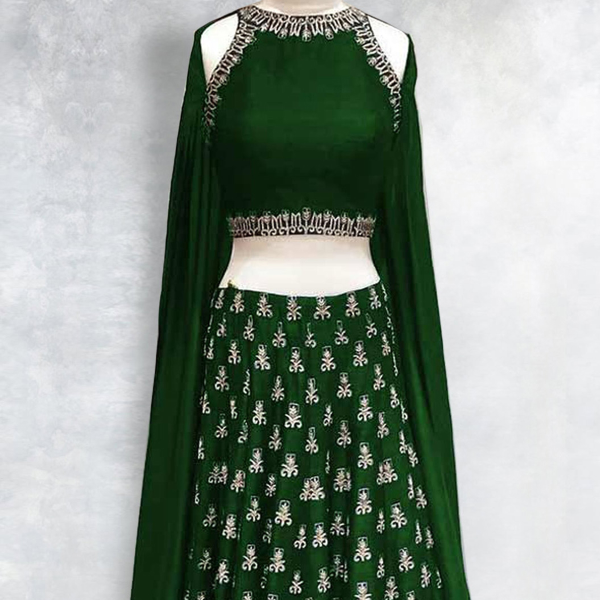 Bottle Green Phantom Silk Lehenga Choli