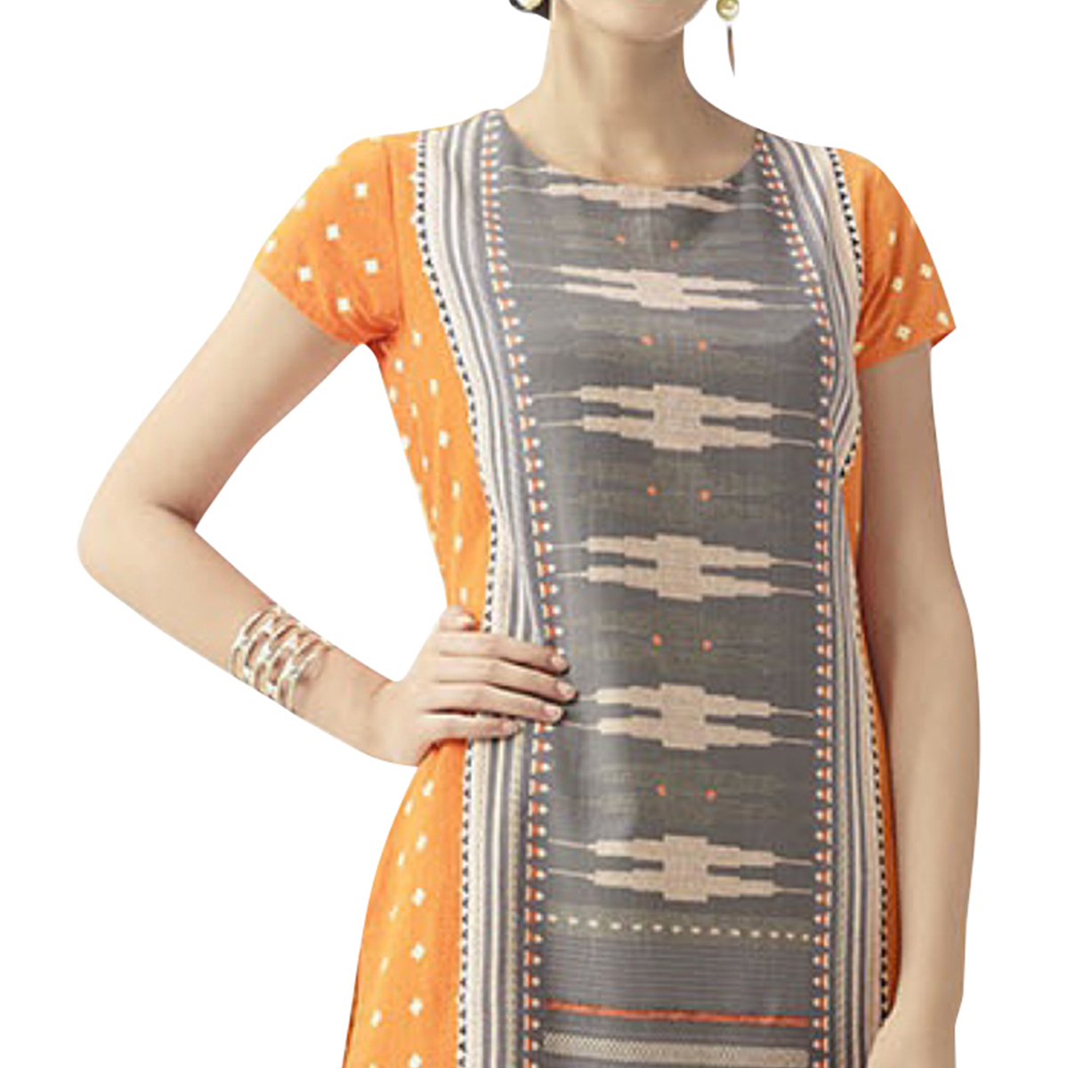 Desiring Orange-Gray Colored Casual Printed Cotton Kurti