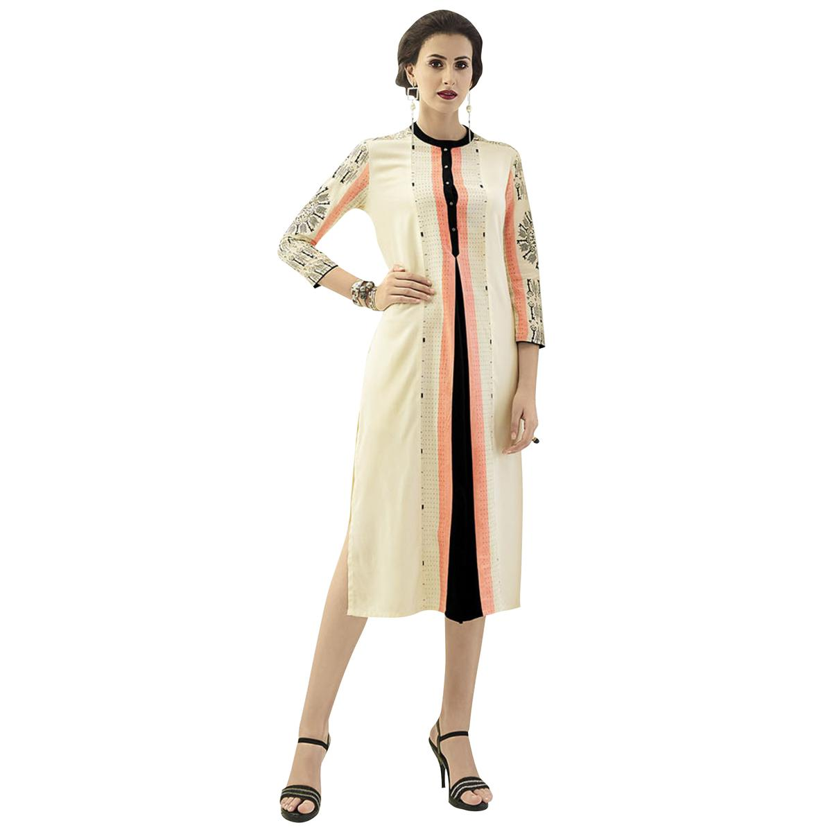 Groovy Cream Colored Casual Printed Rayon Kurti