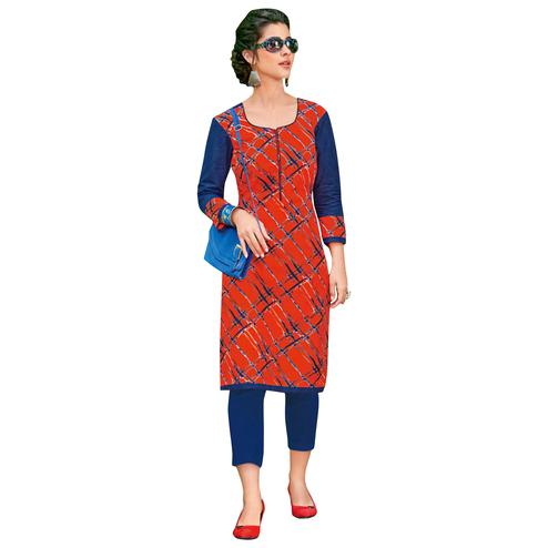 Stylish Orange Colored Casual Printed Jetpur Cotton Kurti