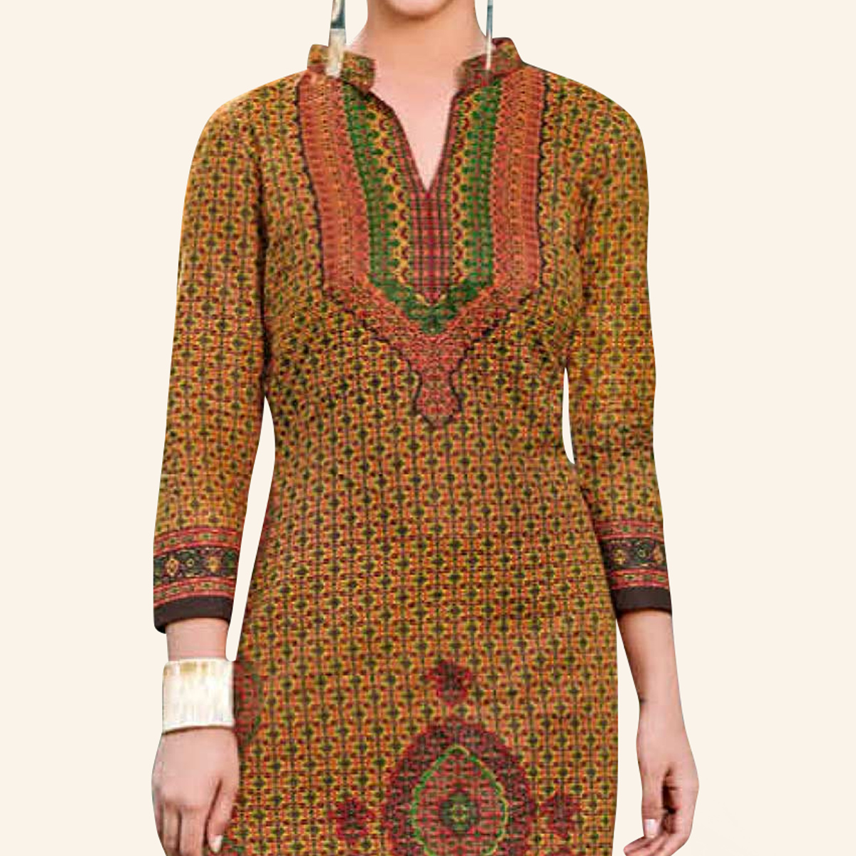 Groovy Mustard Yellow Colored Casual Printed Jetpur Cotton Kurti
