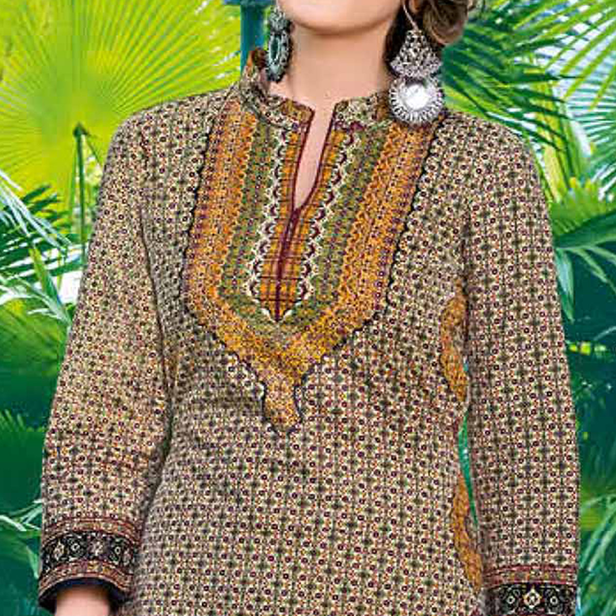 Jazzy Beige Colored Casual Printed Jetpur Cotton Kurti