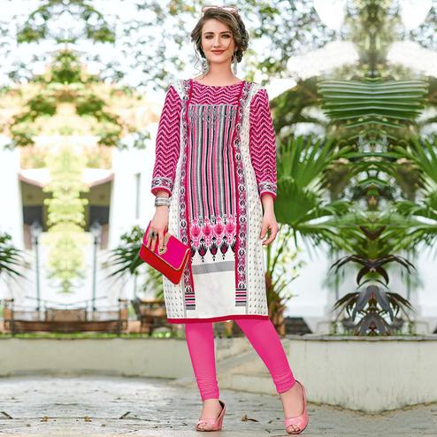 Charming White-Pink Colored Casual Printed Jetpur Cotton Kurti
