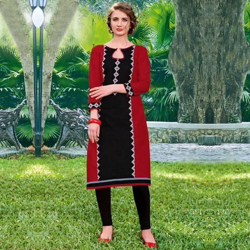 Classy Red-Black Colored Casual Printed Jetpur Cotton Kurti